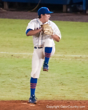 Florida freshman Johnny Magliozi pitches during the Gators' 5-3 loss against the Georgia Bulldogs Saturday April 21, 2012 at the McKethan Stadium in Gainesville, Fla. / Gator Country photo by Saj Guevara