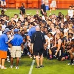 Gator head coach Will Muschamp talks to the high school football players at Friday Night Lights at Ben Hill Griffin Stadium on July 26, 2013.