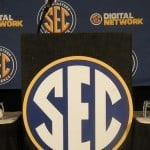 The podium at SEC Media Days.