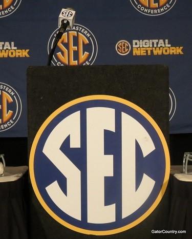 The podium at SEC Media Days.