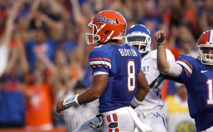 Trey Burton during the first half of the Gators' game against the Kentucky Wildcats on Saturday, September 25, 2010 at Ben Hill Griffin Stadium in Gainesville, Fla. / Gator Country photo by Tim Casey