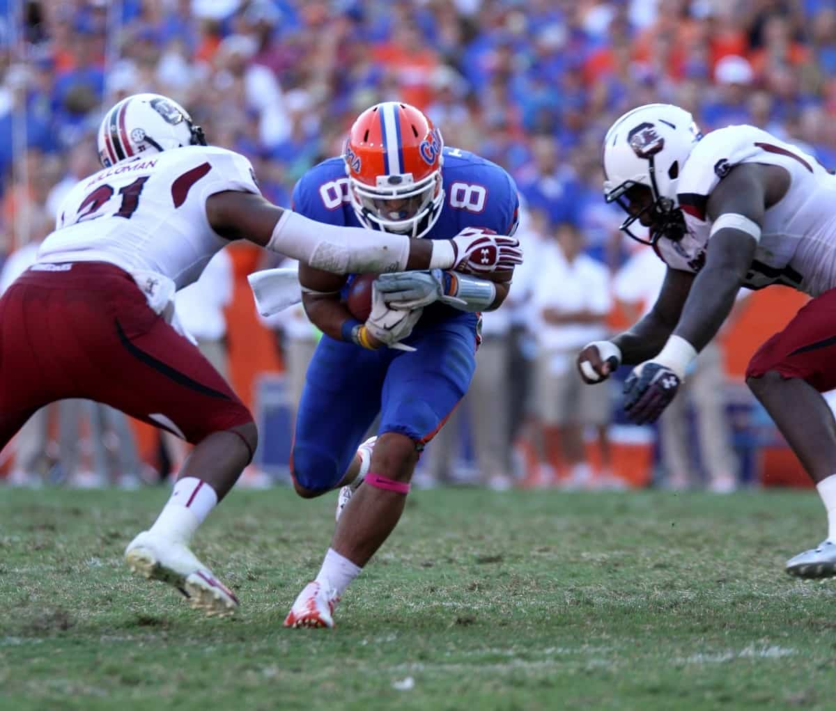 Trey Burton might see more action than usual as an option quarterback against South Carolina.