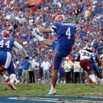 Punter Kyle Christy (4) is a leathal weapon for the Florida Gators. Photo Credit: Kim Klement-US PRESSWIRE