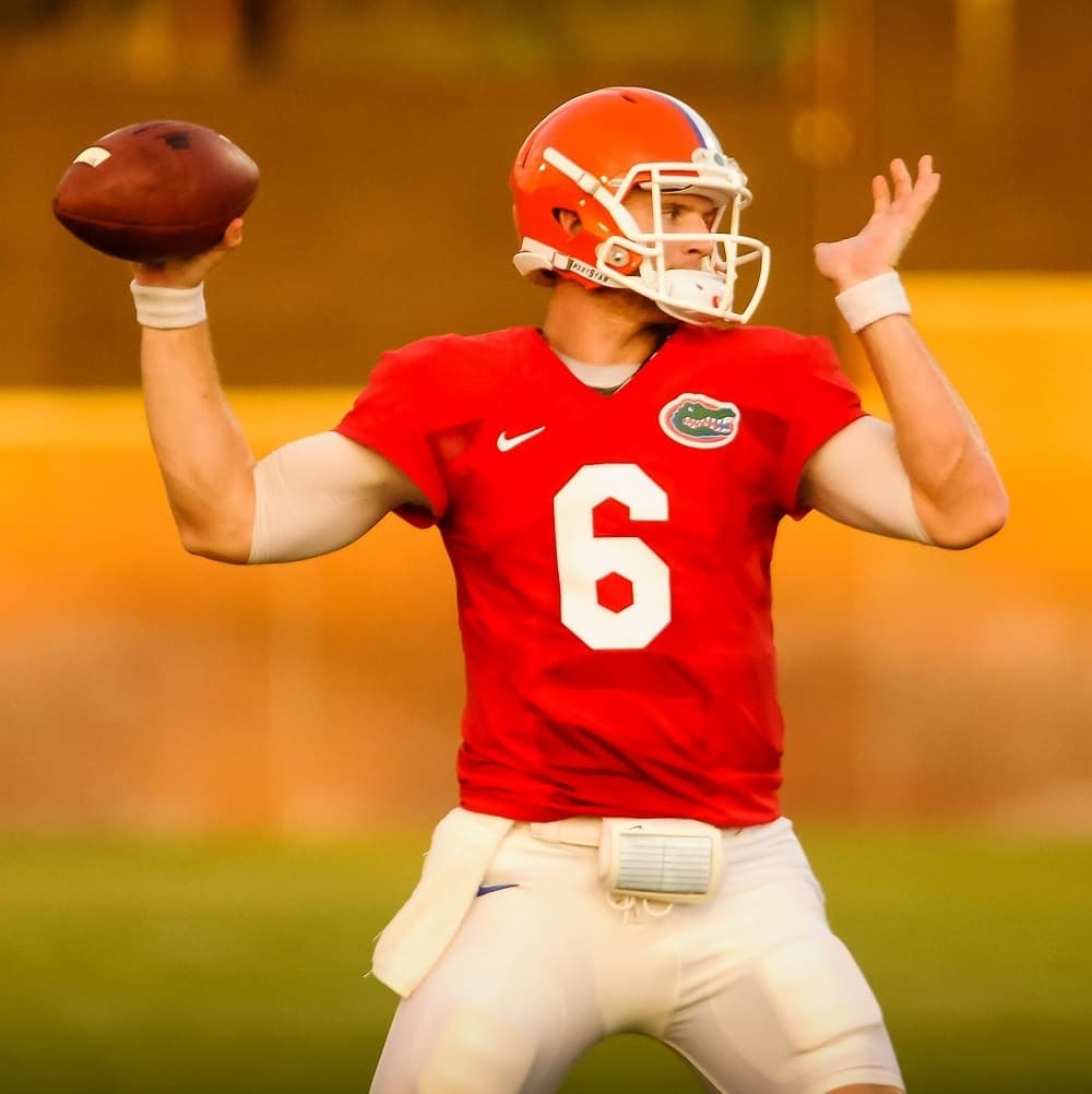 QB Jeff Driskel throws downfield during the Gators Practice. Gator Country photo by David Bowie.