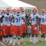 The Florida Gator football team at Dizney Stadium for their first day of fall practice.