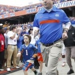 Will Muschamp before the Gators' 26-21 win against the Vanderbilt Commodores on Saturday, November 5, 2011 at Ben Hill Griffin Stadium in Gainesville, Fla. / Gator Country photo by Tim Casey