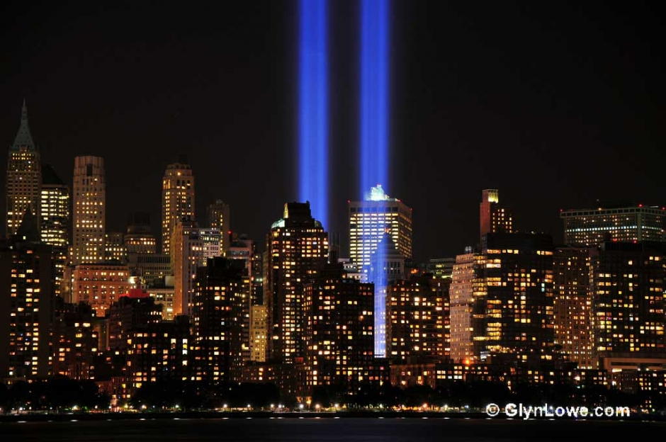 9/11 Twin Towers Memorial Light. Photo courtesy and copyright of Glyn Lowe Photoworks.