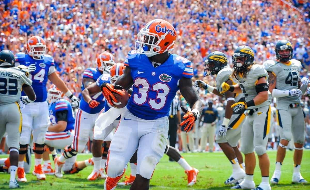 RB Mack Brown rushes in for a Gator touchdown. Gator Country Photo by David Bowie.