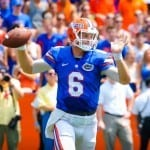 QB Jeff Driskel throws downfield during Florida's 24-6 season opening win.  Gator Country photo by David Bowie.