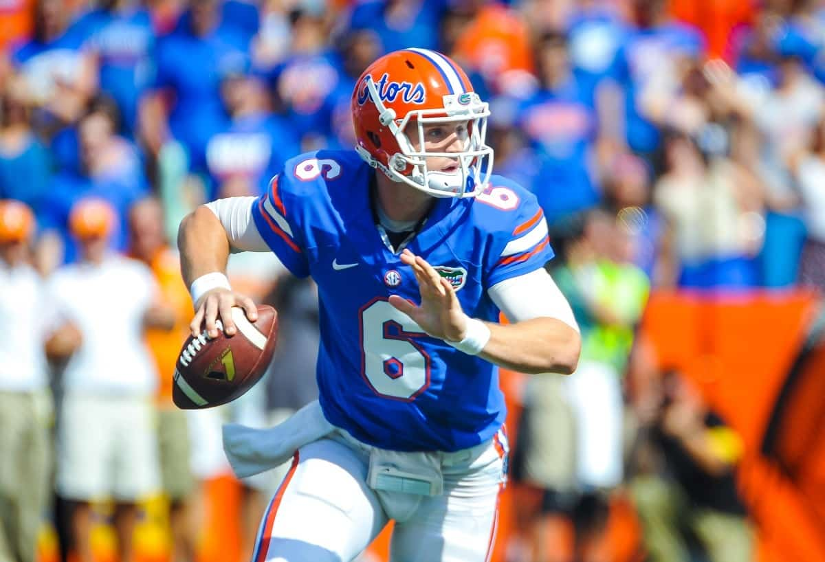 Florida Gator QB Jeff Driskel scrambles in the backfield looking for an open receiver downfield. Gator Country photo by David Bowie.
