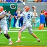Florida Gators QB Jeff Driskel throws to an open Gator receiver. Photo by David Bowie.