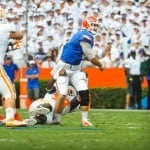 Jeff Driskel suffered a broken leg on this play against Tennessee / Gator Country photo by David Bowie.