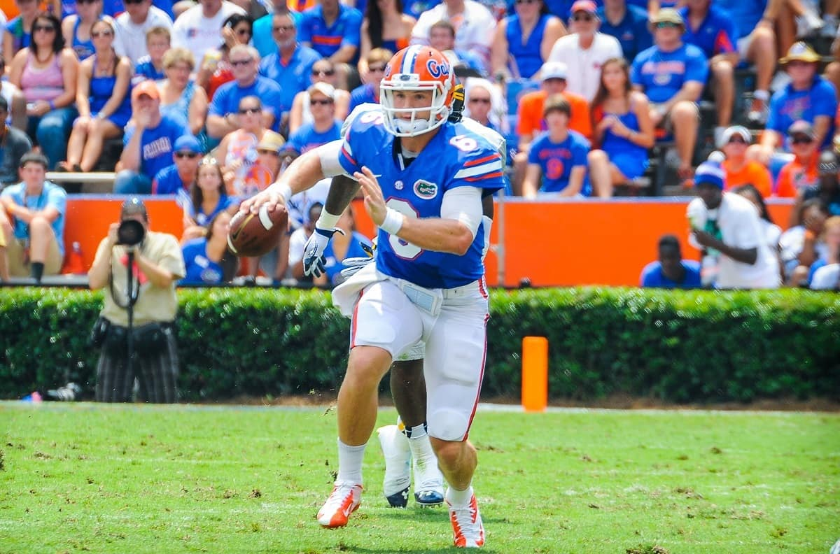 Jeff Driskel has a chance to thrive as a dual threat quarterback in Kurt Roper's offense / Gator Country photo by David Bowie.