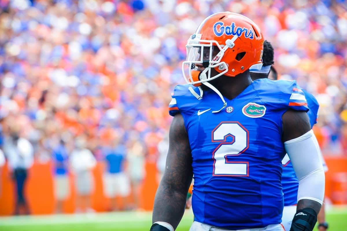 DL Dominique Easley eyes the field during Florida's 24-6 season opening win.