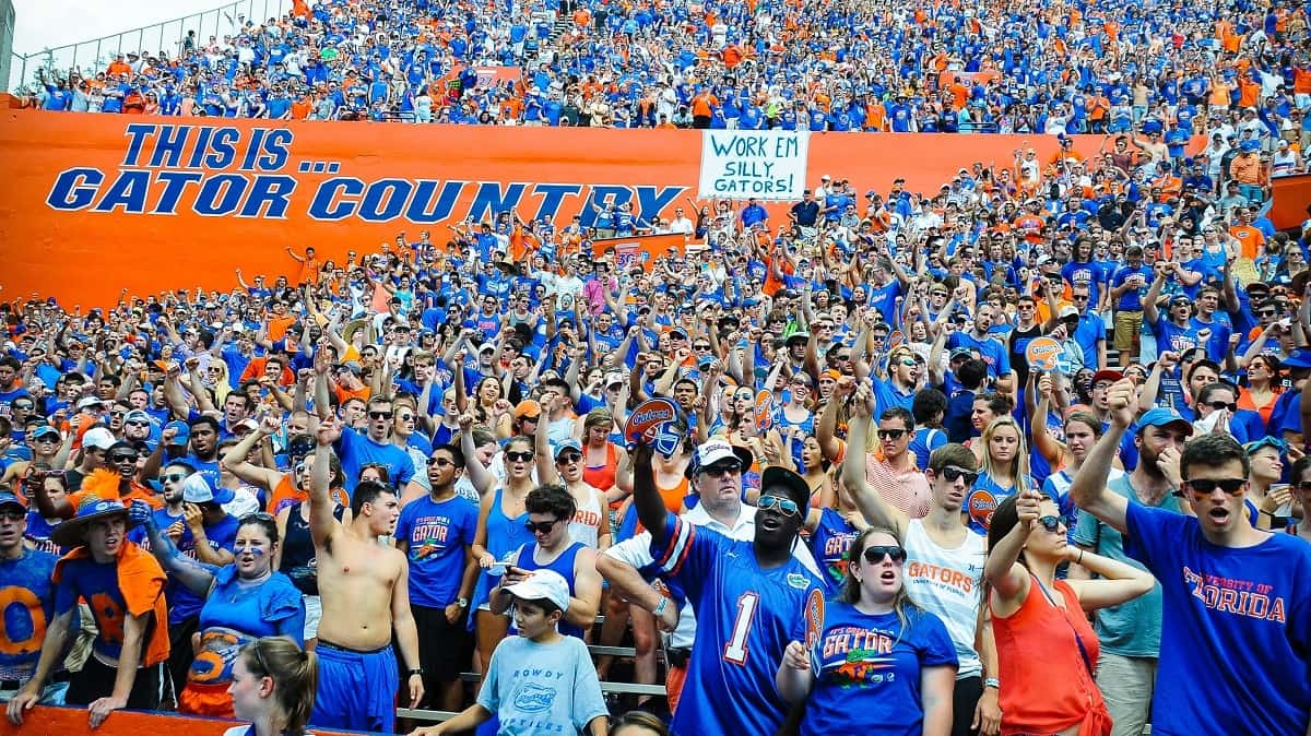 Florida Gator students cheer on the Gator football team against the Toledo Rockets in The Swamp. Photo By David Bowie.