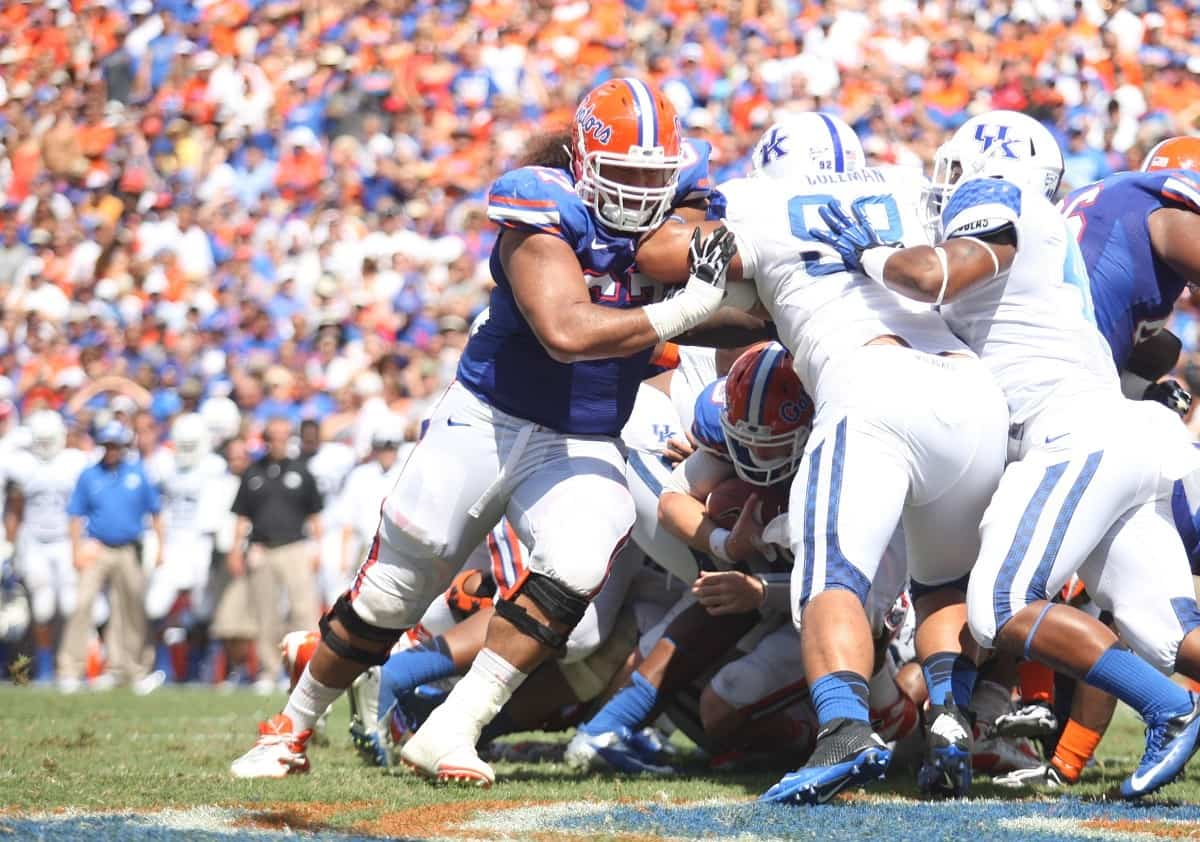 Jon Halapio (67) knows the UF O-line has to have a big game against South Carolina / Gator Country Photo by Curtiss Bryant