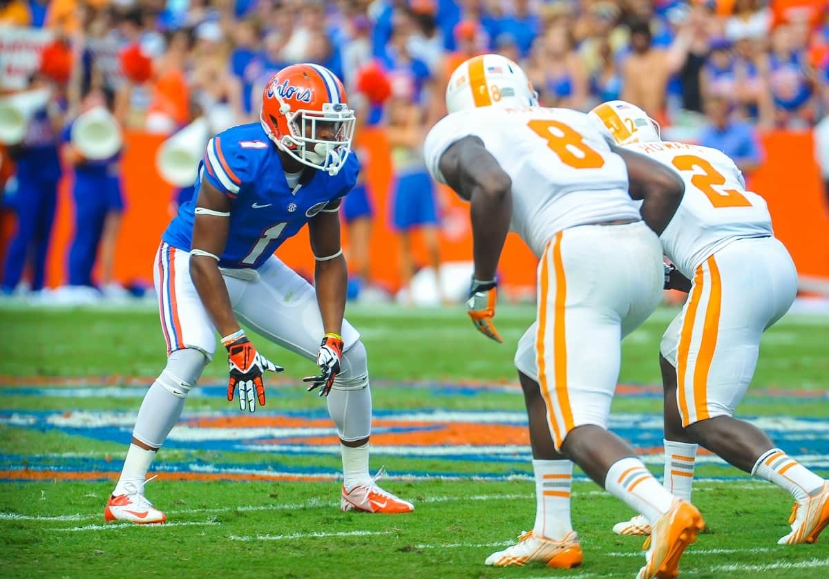 It's hard to believe that Vernon Hargreaves III (1) is just a freshman.  Gator Country photo by David Bowie.