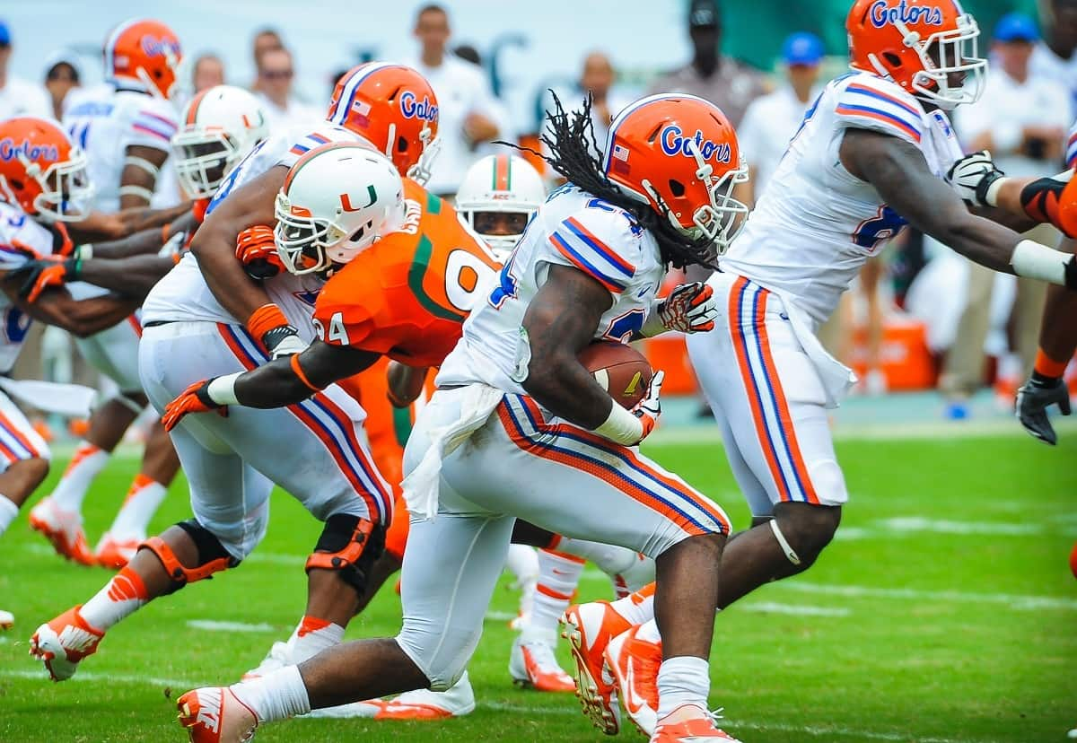 Florida Gators RB Matt Jones finds an open hole against Miami. Photo courtesy of David Bowie.