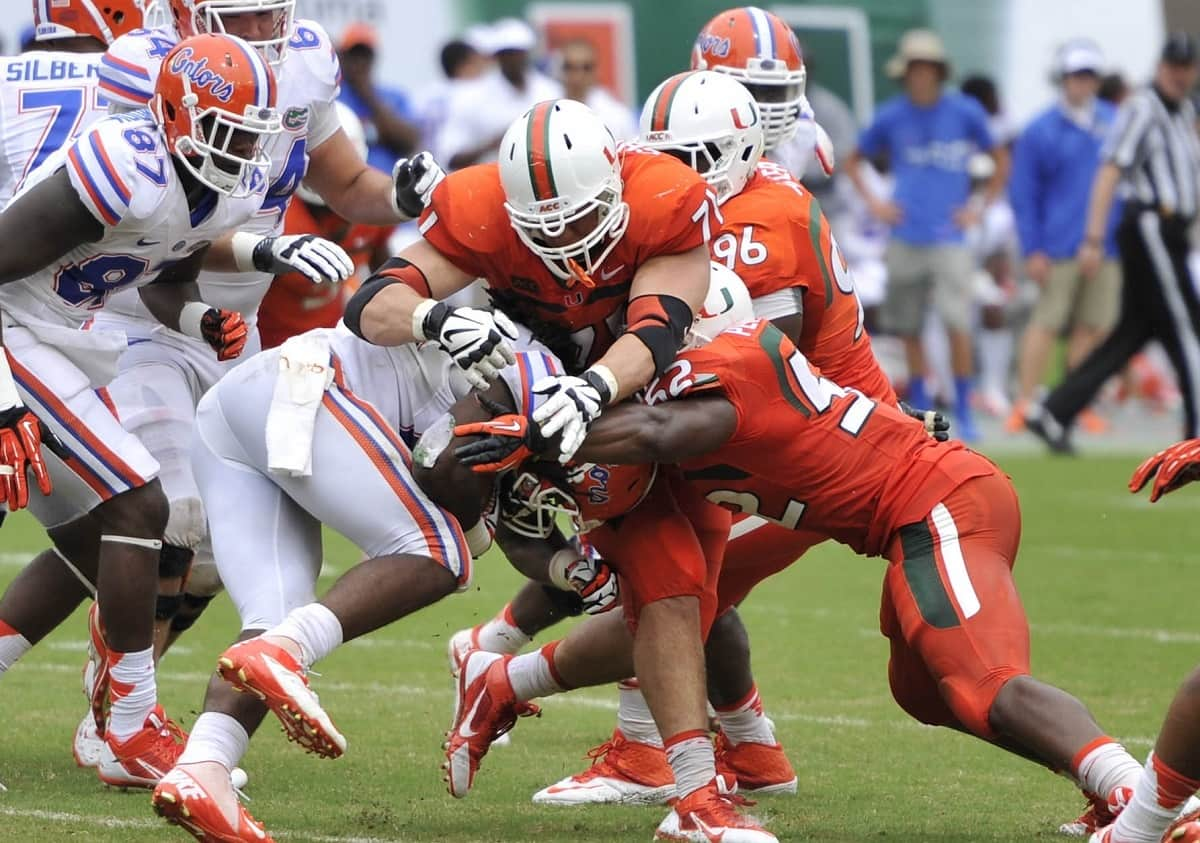 Over 40 prospects were at Sun Life Stadium on Saturday as Florida fell to Miami 21-16.  Photo Credit: Brad Barr-USA TODAY Sports