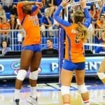 The Florida Gators volleyball team put on an exhibition scrimmage during the Gator Fan Day.  Stephen C. O'Connell Center.  August 17th, 2013