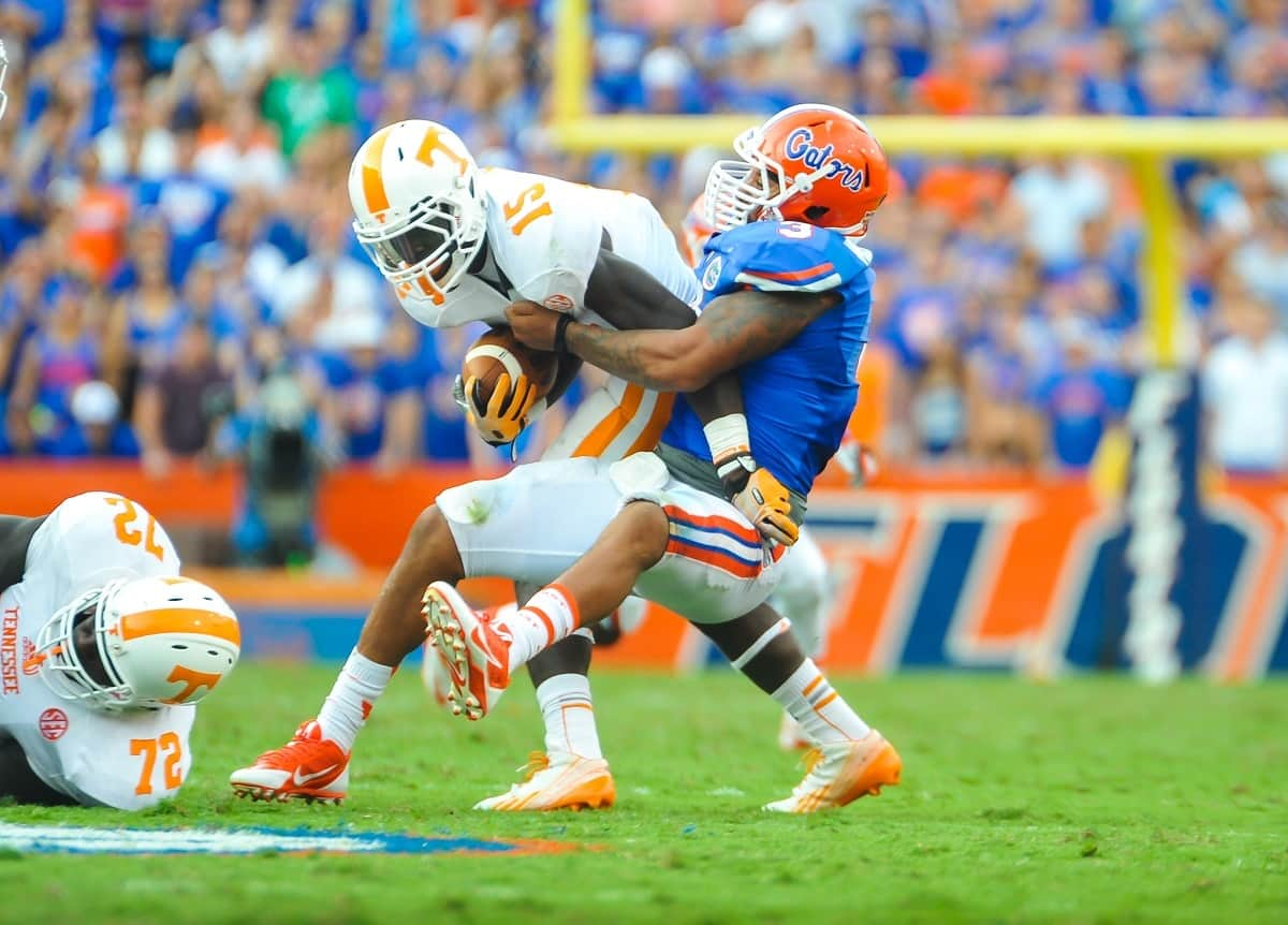 Florida Gators LB Anotnio Morrison makes the tackle on Tennessee RB Marlin Lane / Gator Country photo by David Bowie.