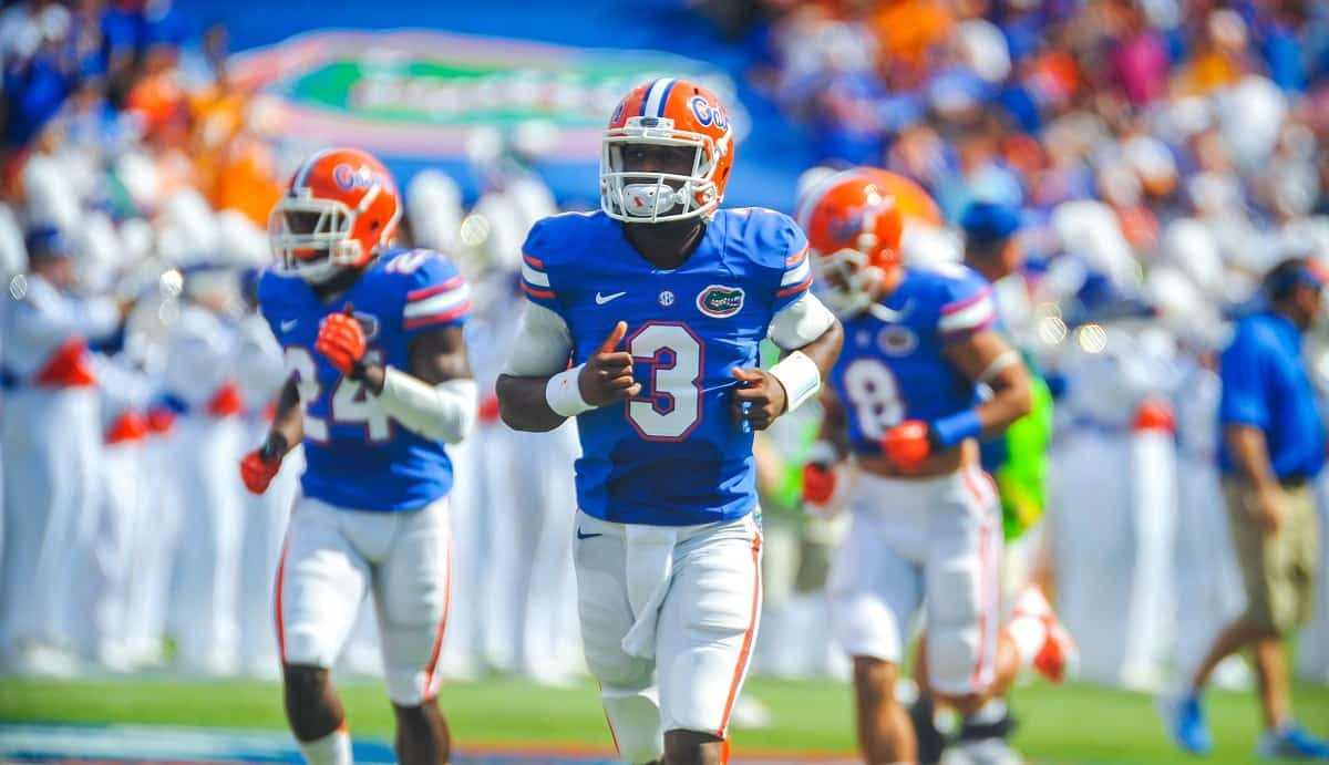 Florida Gators QB Tyler Murphy runs out onto the field for the start of the Tennessee game. Gator Country photo by David Bowie.