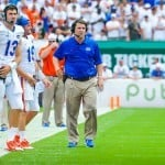 Florida Gators Coach Will Muschamp during their game against the Miami Hurricanes. Photo by David Bowie.
