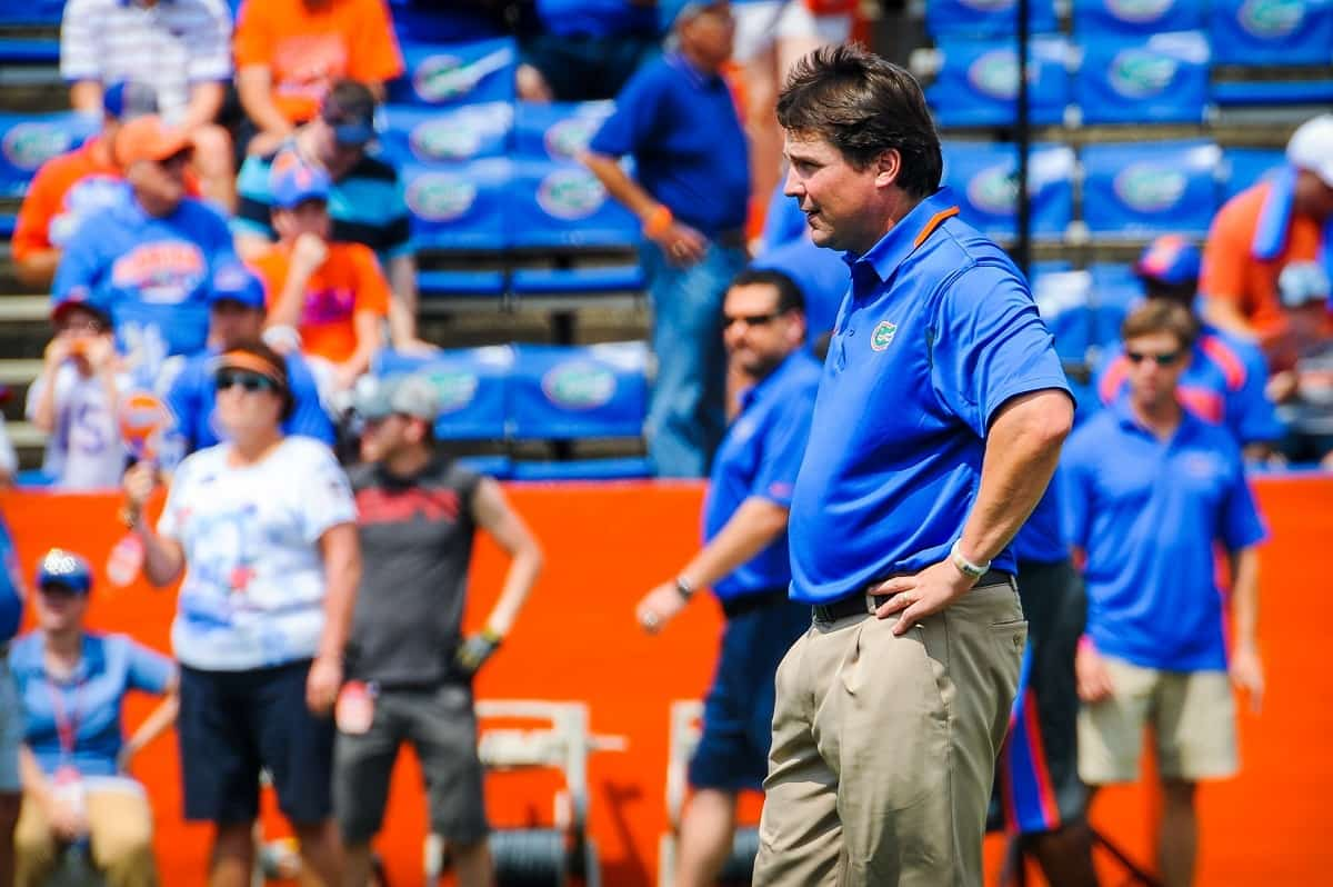 Coach Will Muschamp watches on during Florida Gator warm ups. Photo by David Bowie.