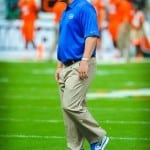 Coach Muschamp watches his Florida Gators warm up. Photo by David Bowie.