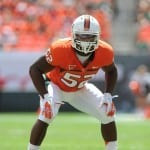 Denzel Perryman called this Saturday's game the biggest he has played in. Photo courtesy of Miami Communications.