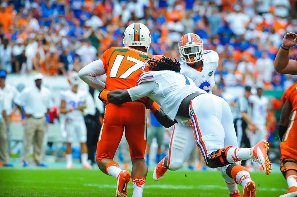 Florida Gators LB Ronald Powell sacks Miami QB Stephen Morris.