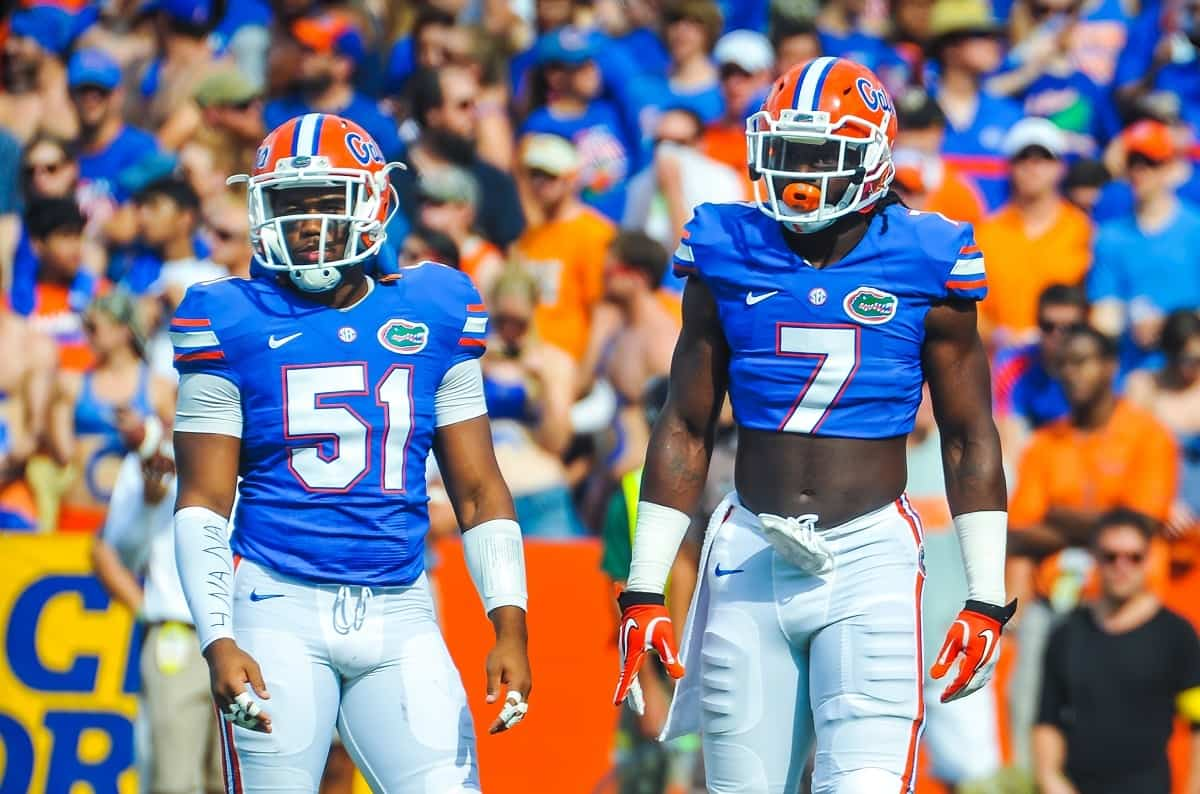 Gator linebackers Ronald Powell and Michael Taylor had big games against Kentucky Saturday night. Gator Country photo by David Bowie
