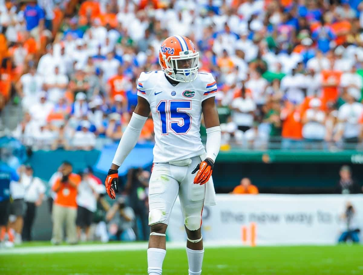 Florida Gators DB Loucheiz Purifoy against the Miami Hurricanes. Photo by David Bowie.