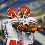 Sep 28, 2013; Lexington, KY, USA; Florida Gators wide receiver Demarcus Robinson (11) celebrates with Trey Burton (8) at Commonwealth Stadium. Photo: Mark Zerof-USA TODAY Sports