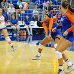 Noami Santos-Lamb makes a big play in her return to the Florida Gators volleyball team. Photo by David Bowie.