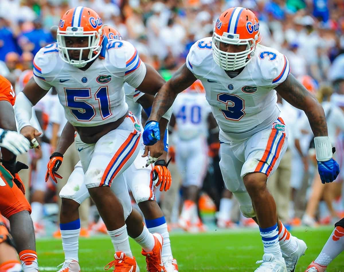 Michael Taylor (3) and Antonio Morrison (51) are back but Florida's linebacking corps looks quite thin overall / Photo by David Bowie.