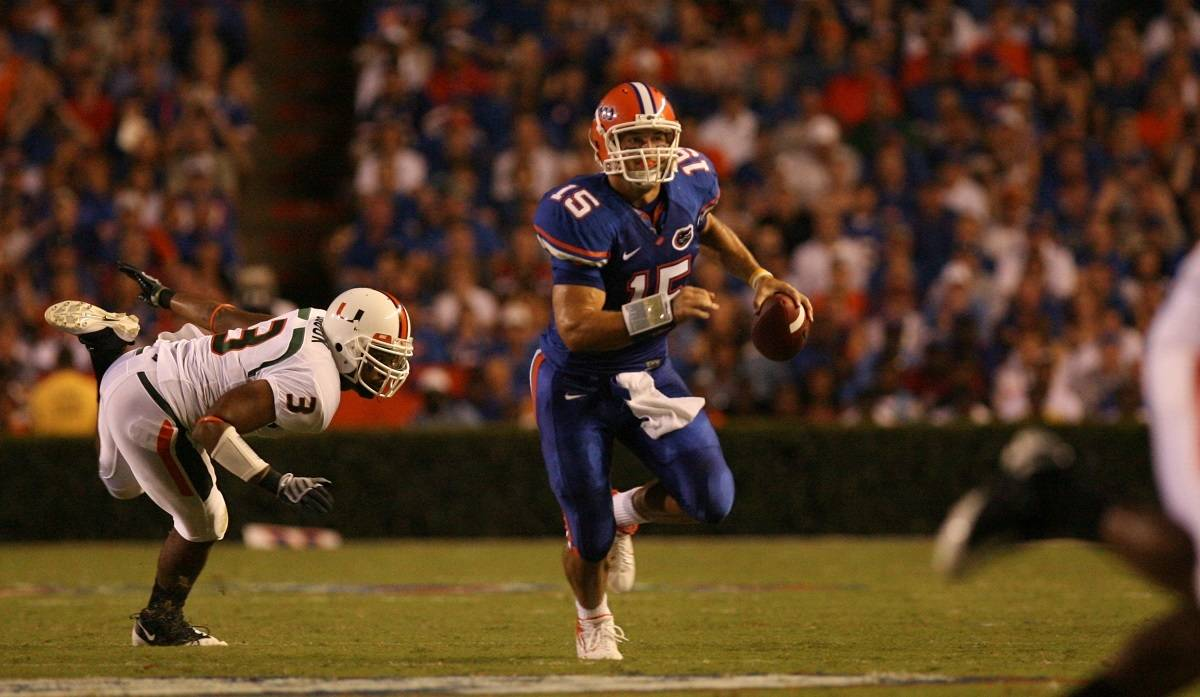 Tim Tebow during the first half of the Gators' 26-3 win against the Miami Hurricanes on Saturday, September 6, 2008 at Ben Hill Griffin Stadium in Gainesville, Fla. Photo courtesy of Tim Casey.