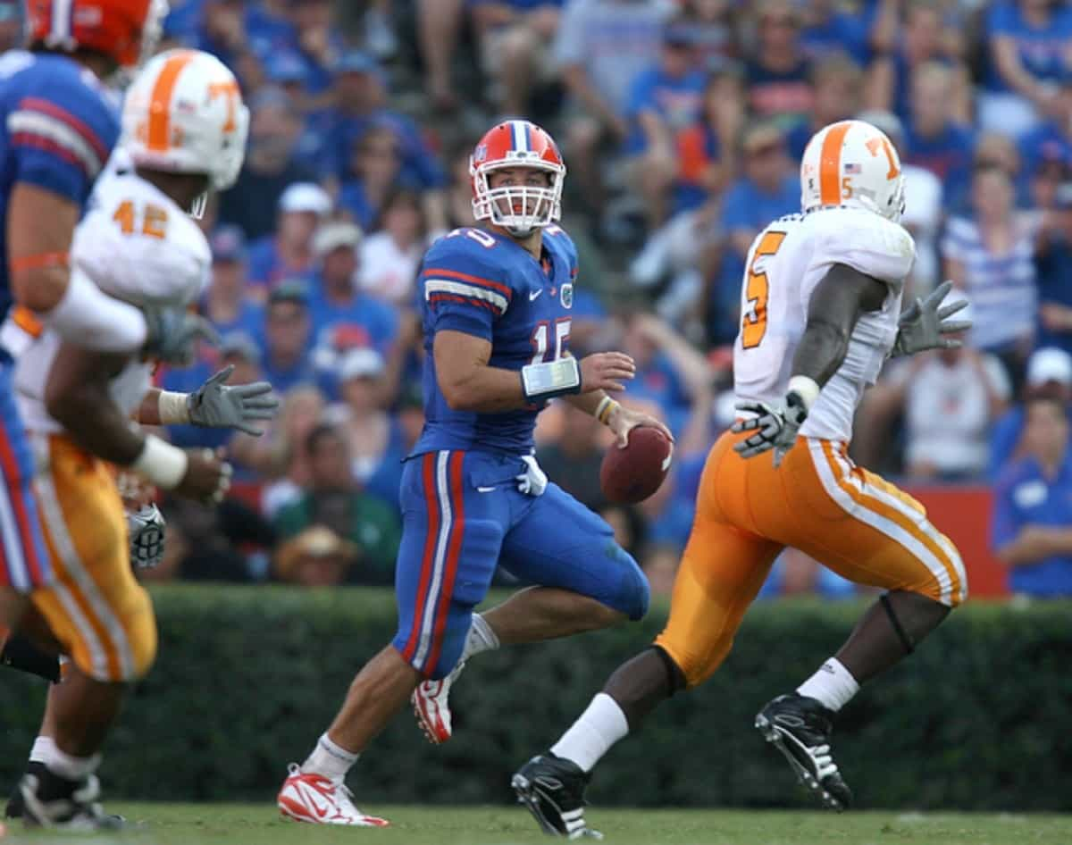 Florida Gators quarterback Tim Tebow during the Gators' game against the Tennessee Volunteers on Saturday, September 19, 2009 at Ben Hill Griffin Stadium in Gainesville, Fla. / Gator Country photo by Tim Casey