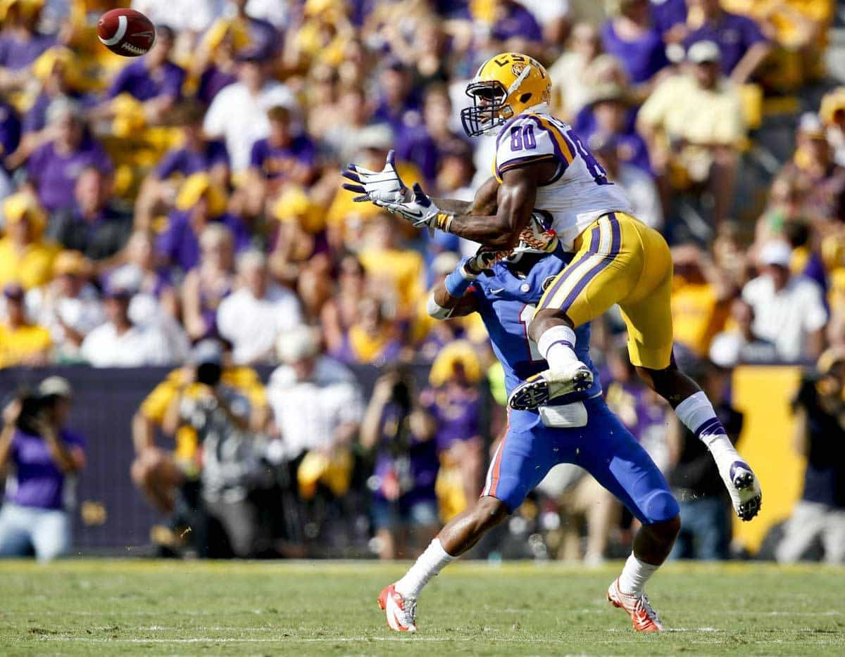LSU's Jarvis Landry goes up to catch a pass against Vernon Hargreaves III / USAToday Photo
