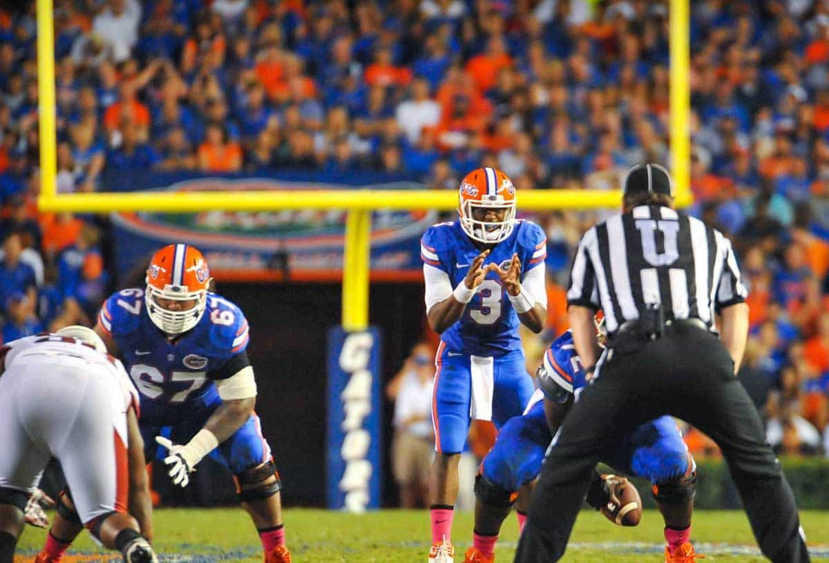 Tyler Murphy waits for the center snap in Florida's 31-10 win over Arkansas / Gator Country Photo by David Bowie
