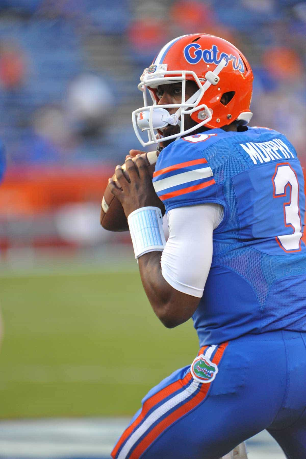 Gator QB Tyler Murphy drops back to pass during warmups for the Arkansas game. Florida Gators vs. Arkansas Razorbacks. October 5th, 2013. Photo: David Bowie