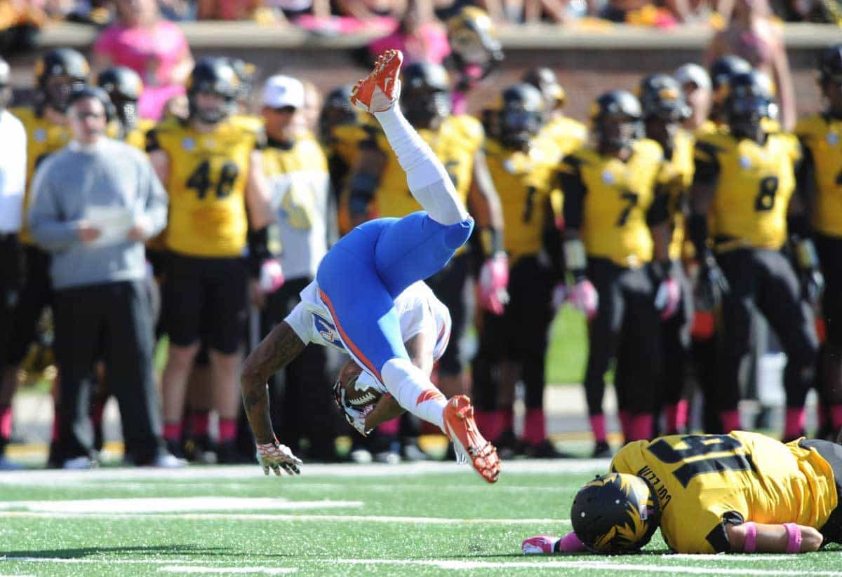 Oct 19, 2013; Columbia, MO, USA; Florida Gators wide receiver Solomon Patton (83) is upended by Missouri Tigers return team member Levi Copelin (16) during the second half at Faurot Field. Missouri won 36-17. Photo: Denny Medley-USA TODAY Sports