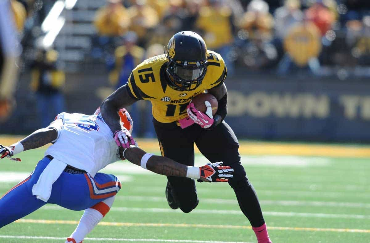 Oct 19, 2013; Columbia, MO, USA; Missouri Tigers wide receiver Dorial Green-Beckham (15) catches a pass and is tackled by Florida Gators defensive back Marcus Roberson (5) during the second half at Faurot Field. Missouri won 36-17. Photo: Denny Medley-USA TODAY Sports