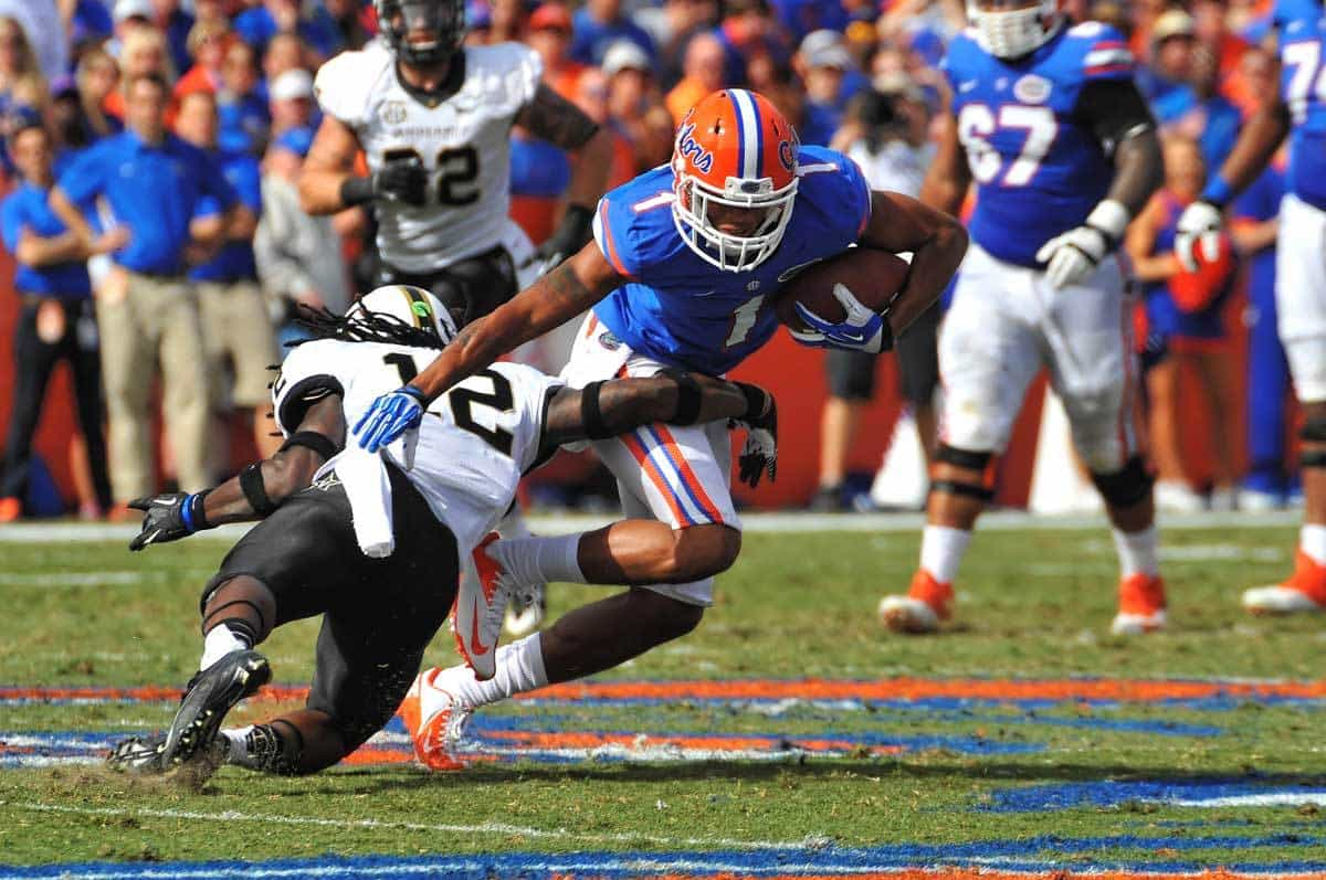 Quinton Dunbar is tackles after making a reception against Vanderbilt / Gator Country Photo by David Bowie
