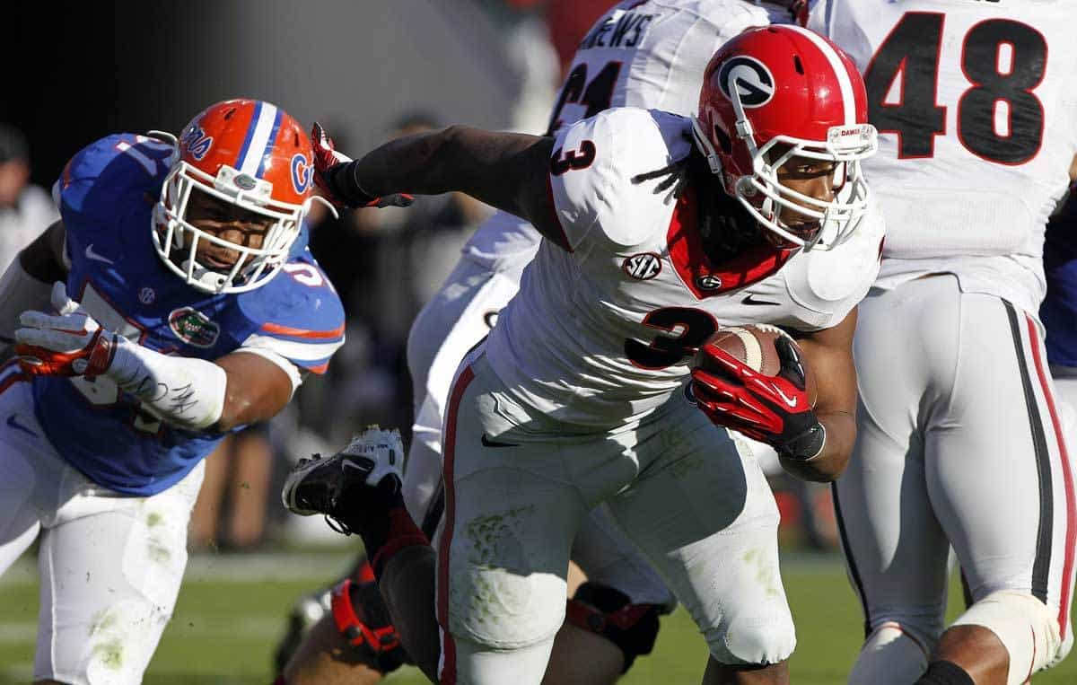 Nov 2, 2013; Jacksonville, FL, USA; Georgia Bulldogs running back Todd Gurley (3) runs with the ball against the Florida Gators during the second quarter at EverBank Field. Photo: Kim Klement-USA TODAY Sports