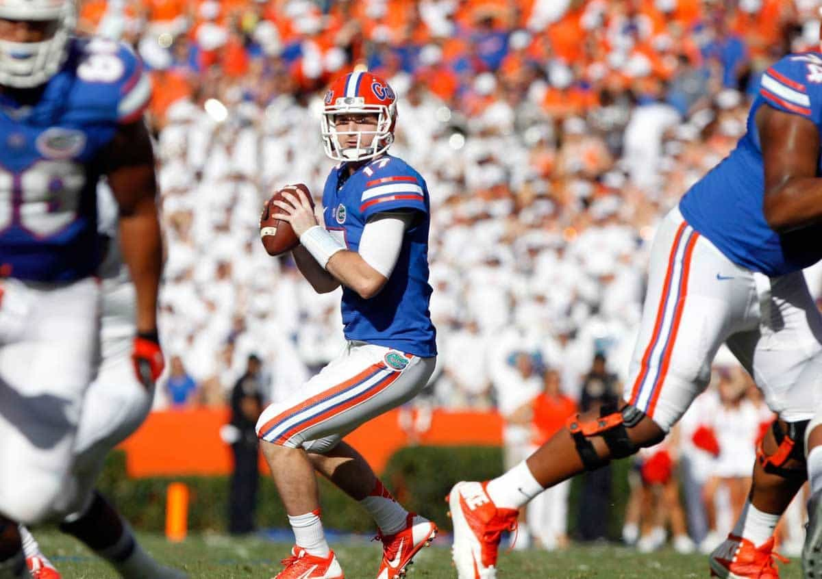 Nov 23, 2013; Gainesville, FL, USA; Florida Gators quarterback Skyler Mornhinweg (17) drops back against the Georgia Southern Eagles during the first quarter at Ben Hill Griffin Stadium. Photo: Kim Klement-USA TODAY Sports