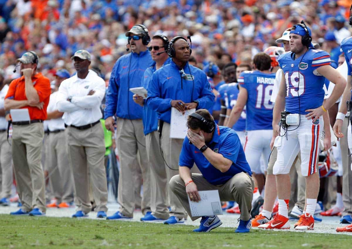Nov 23, 2013; Gainesville, FL, USA; Florida Gators head coach Will Muschamp reacts during the second quarter against the Georgia Southern Eagles at Ben Hill Griffin Stadium. Photo: Kim Klement-USA TODAY Sports