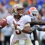 Nov 30, 2013; Gainesville, FL, USA; Florida State Seminoles quarterback Jameis Winston (5) throws a pass against the Florida Gators during the first quarter at Ben Hill Griffin Stadium. Photo: Steve Mitchell-USA TODAY Sports