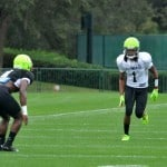 Ermon Lane runs a route at practice for the Under Armour All-American game.