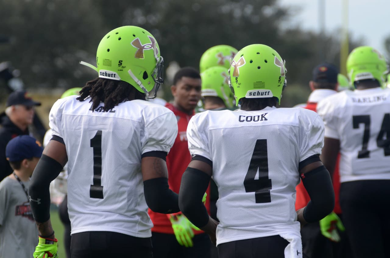 Ermon Lane and Dalvin Cook during Under Armour All-American practice.